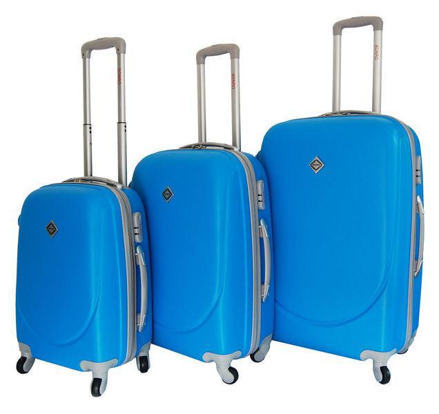 Чемодан сумка дорожный Bonro Smile набор 3 штуки голубой