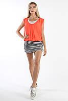 Платье оранжевое шифоновое