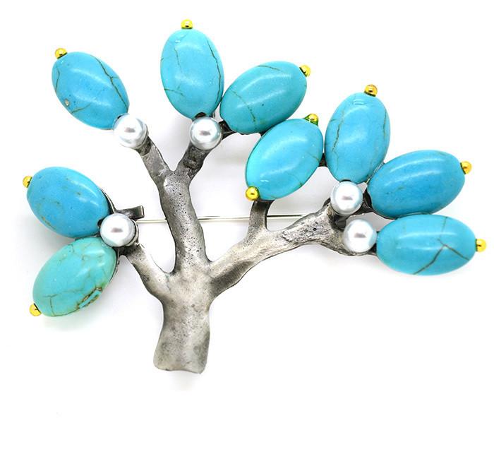 Брошь дерево бирюза
