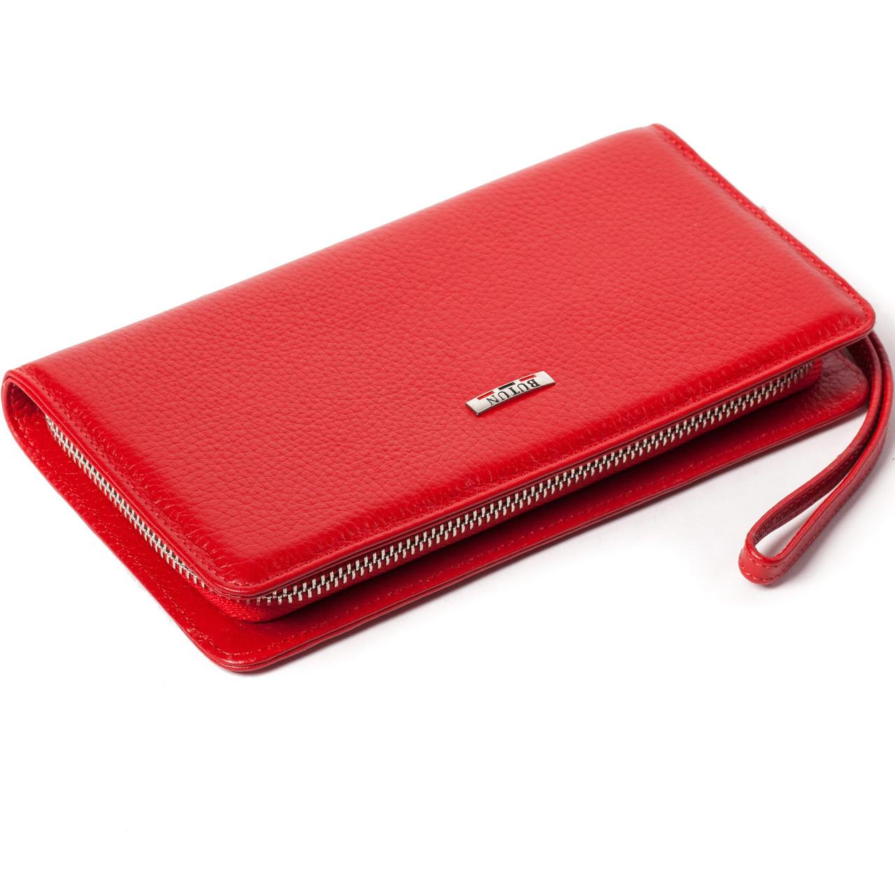 Женский кошелек клатч на молнии BUTUN 096-004-006 кожаный красный