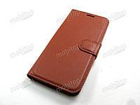 Кожаный чехол книжка Samsung Galaxy J6 2018 J600 коричневый