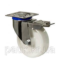 """Колесо 4604-NI-101-P(46 """"Norma Inox"""") Ø 100мм, поворотное с крепежной панелью и тормозом"""