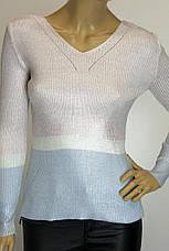 Жіноча трикотажна кофта сріблястого кольору , фото 3