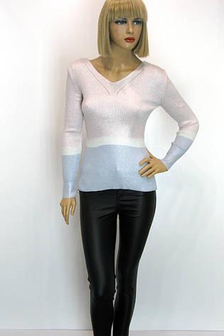 Жіноча трикотажна кофта сріблястого кольору , фото 2