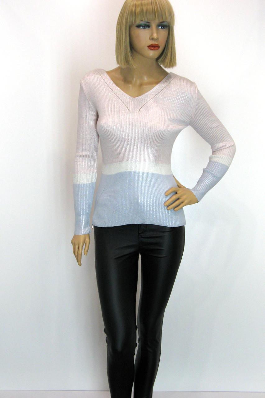 Жіноча трикотажна кофта сріблястого кольору