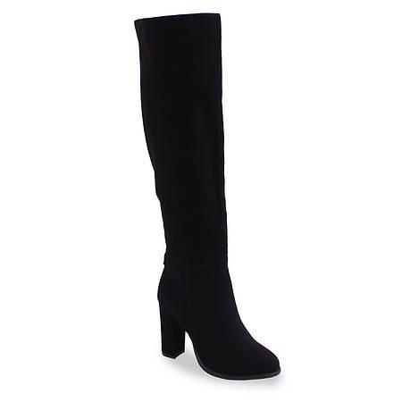 Замшевые женские ботфорты Deenoor(зимние, на каблуке, модные, черные, на замке, удобные, теплые)