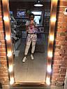 Большое гримерное зеркало с подсветкой, коричневое дерево, фото 7