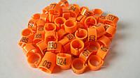 Маркеровочные номерные кольца для голубей диаметром 8мм оранжевый