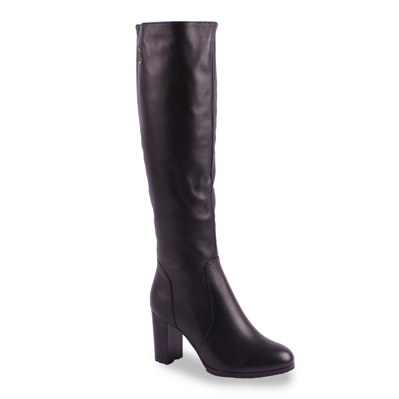 Стильные женские сапоги Phenddi (кожаные, зимние, на каблуке, на замке, теплые, черные, Фенди)
