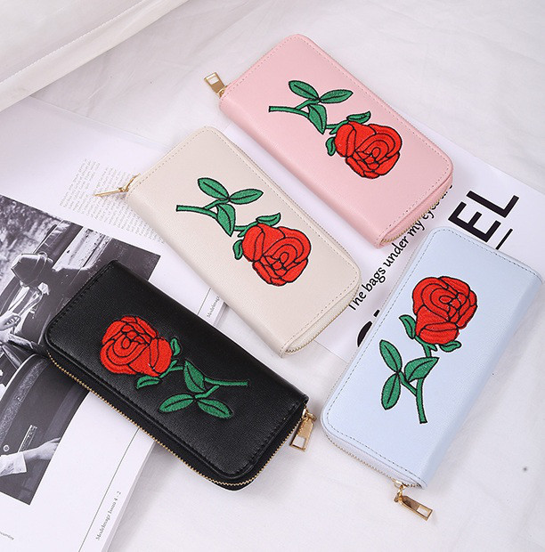 Клатч жіночий гаманець з вишивкою троянда
