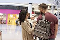 Сумка-рюкзак для мамы с ребёнком Leleka babyDi grey бирюзовый