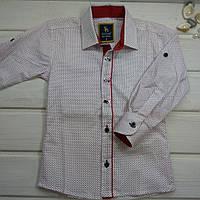 Рубашка для мальчика белая в горошек. Размеры  86