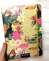 Блокнот Фламинго  с цветным торцом на резинке,  А5