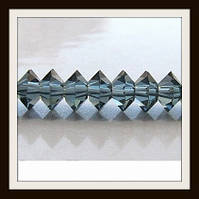 Хрустальные бусины Юла с огранкой (6*4 мм) сапфир (100 шт)