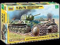Советский средний танк с минным тралом Т-34/76. 1/35 ZVEZDA 3580