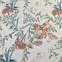 304168493 - Вискоза белая в бежевую полоску, оранжевые цветы, ш.140