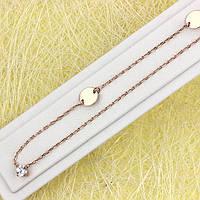 014-0860 - Оригинальная цепочка с прозрачным фианитом якорное плетение розовая позолота, 63+6 см