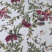 304448493 - Вискоза белая в серую полоску, бордовые цветы, ш.140