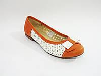 Кожаные белые оранжевые яркие польские балетки с перфорацией 37р Elegance ffa0986f461ff