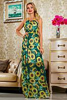 Летний зеленый сарафан в пол с цветами Д-1515