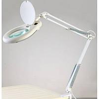 Лупа-лампа 5 диоптрий 130мм с люминисцентной подсветкой ZD-129A  на струбцине