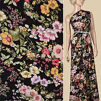 304738493 - Вискоза черная в розово-оранжевые цветы, синие листья, ш.140