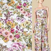304798493 - Вискоза белая, розовые, желтые цветы (2сорт), ш.145