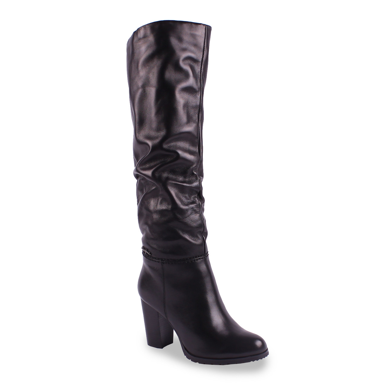 Модные кожаные сапоги Posiot (зимние, на каблуке, удобные, черные, теплые, на замке)