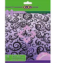 Папір оксамитовий ZiBi, А4, 10 кольорів, 10 аркушів
