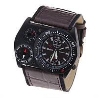 Европейские ретро часы OULM Brown с компасом и термометром