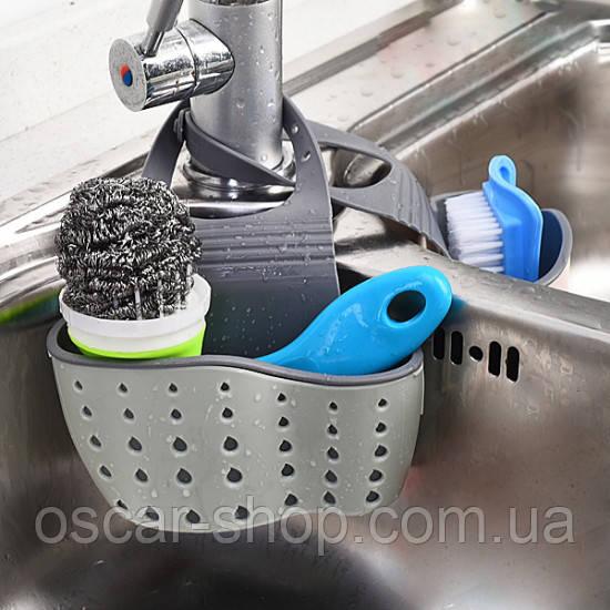Подвесная корзинка для кухонных губок серая