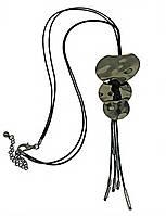 Колье с лощёными шнурами. Цвет метала:чёрный.Диаметр кулона:9 см. Длина колье: 82-90 см