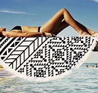 Пляжний килимок Mandala black 140см УЦІНКА, фото 1