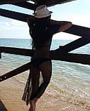 Накидка пляжная черная, прозрачная - S(42р.) бюст 84см, длина 133см, 35% полиэстер, 65% хлопок, фото 6