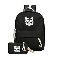 Черный рюкзак с пеналом Кот в очках