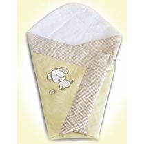 Летний конверт одеяло с вышивкой на выписку для новорожденного Песик бежевый, фото 3