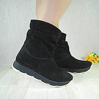 Женские ботинки из натурального замша черного цвета, свободного одевания ff5f157f874
