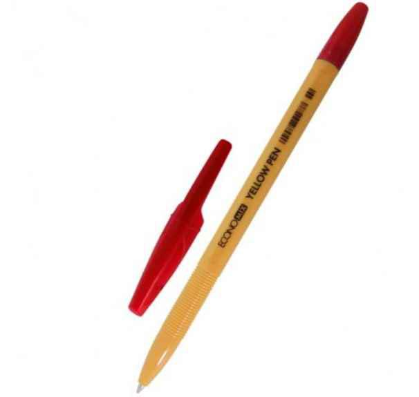 Ручка кулькова Economix Yellow Pen 0,5 мм. Корпус жовтий, пише червоним