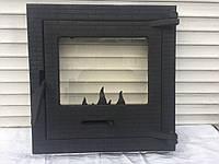 Дверцы для камина печи барбекю 400*400 мм. Печная дверца со стеклом