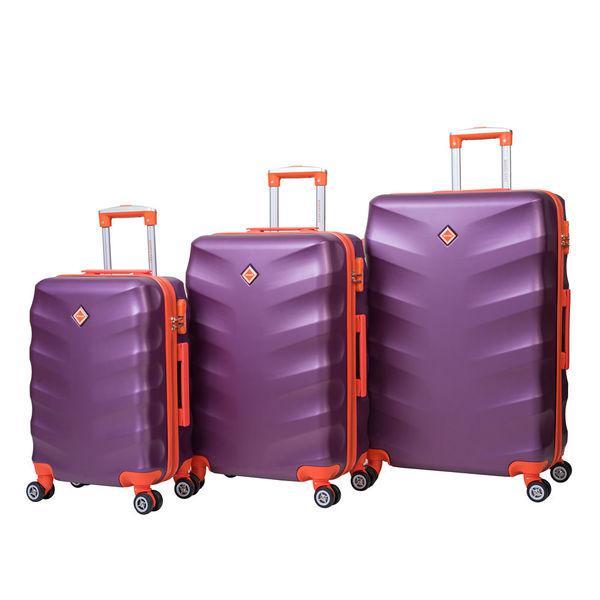 Чемодан сумка дорожный Bonro Next набор 3 штуки т. фиолетовий