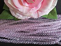 Бусины хрустальные 4х3 мм, рондель, 140-150 шт, цвет розовый (прозрачный)