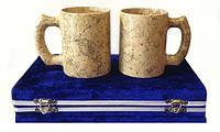 Пивные бокалы из натурального камня яшма набор 2 шт