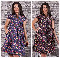 Нарядное джинсовое платье Цветы Батал до 54р 16728, фото 1
