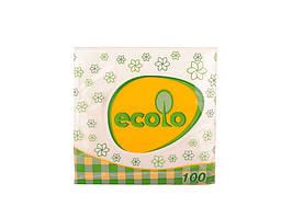 Серветки Ecolo, 100л 24*24 (1шар) білі