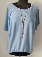 Оригинальнаяблуза-двойка: блуза с майкой с украшением. Дышащая ткань, р.50-52 код 1853М