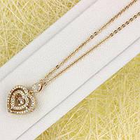 014-0872 - Позолоченная цепочка якорное плетение и подвеска Сердечко с прозрачными фианитами, 40+3 см