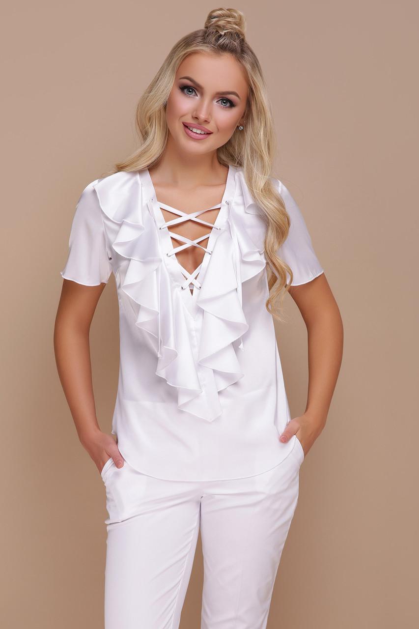 Женская белая шелковая блузка Сиена к/р