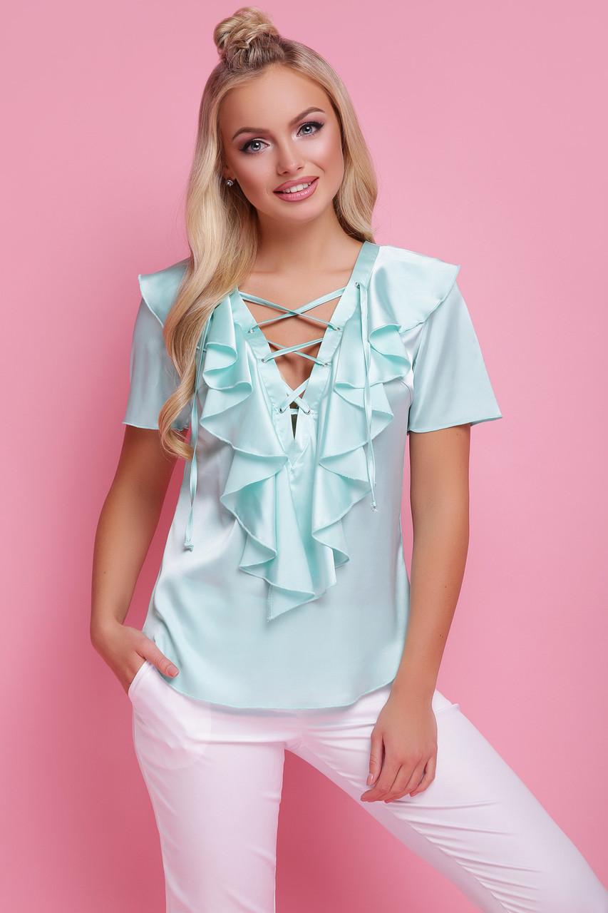Женская мятная блузка с коротким рукавом Сиена к/р В НАЛИЧИИ ТОЛЬКО Sр