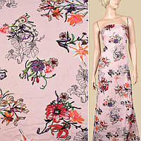 328798493 - Вискоза розовая, лилии и ирисы, ш.145