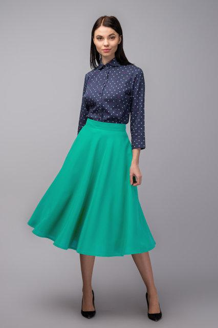 Классическая юбка полуклеш в зеленых тонах